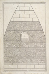 One of the four drawings of details of carvings on the Dhamekh Stupa at Sarnath: The east niche.